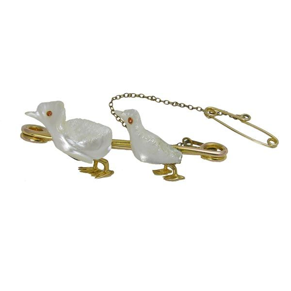 gold victorian mother of pearl and ruby duckling bar brooch Sally Thornton Jewellery blog on flying inspiration at thorntons jewellers kettering northampton