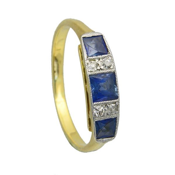 lovely example of antique sapphire and diamond ring set in 18ct yellow gold from Sally Thornton jewellery blog at Thorntons Jewellers Kettering