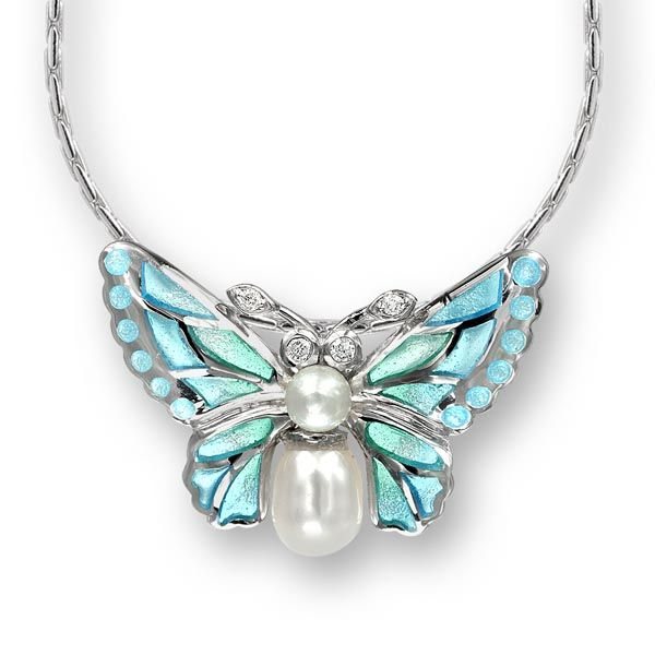 silver butterfly pendant with pearl and enamel £185 Sally Thornton Jewellery blog on flying inspiration at thorntons jewellers kettering northampton