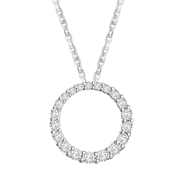 18ct gold circular diamond pendant on a necklet £1,950 from thornton jeweller diamond jewellery collection in Kettering Northampton