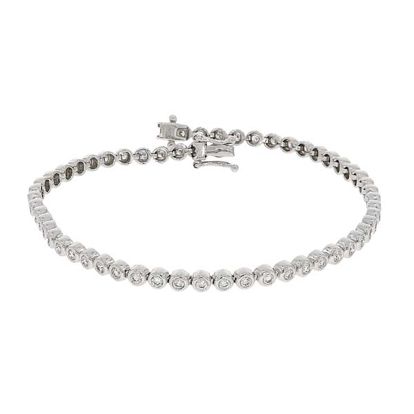 18ct white gold 57 stone diamond rub over set line bracelet £3,500 from thornton jeweller diamond jewellery collection in Kettering Northampton