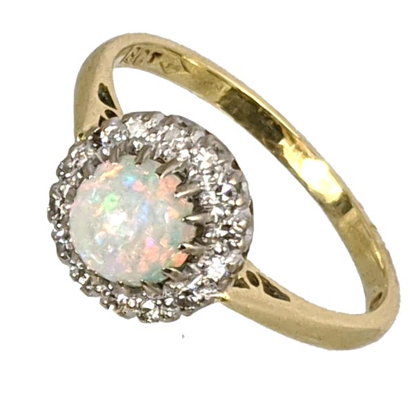 99282 £445 Second Hand 18ct Opal & Diamond Cluster Ring from Thorntons Jewellers Jewellery Collection in Kettering Northampton