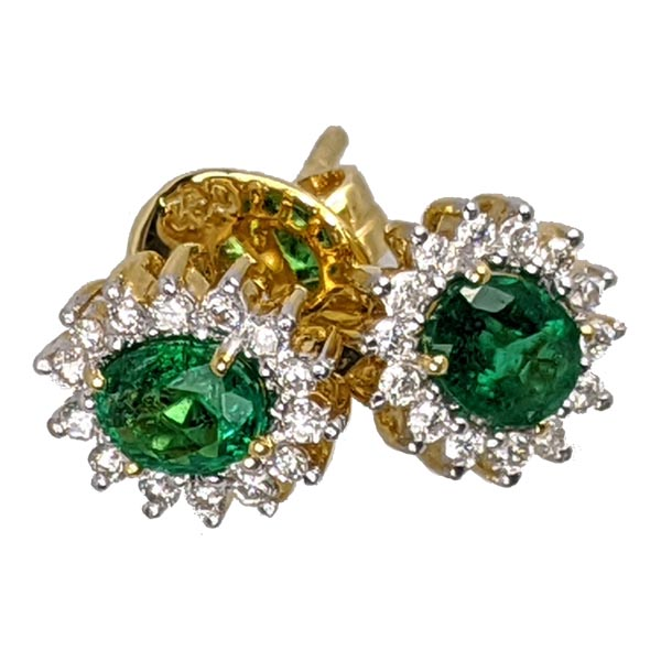 Pre Loved 99299 £425 Sold 18ct Emerald And Diamond Cluster Stud Earrings from Thorntons Jewellers jewellery collection in Kettering Northampton