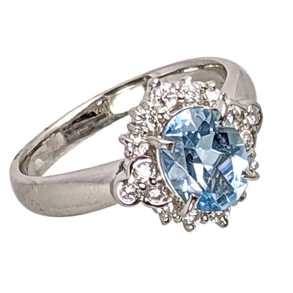99312 £1650 Second Hand Stamp PT900 Platinum Aqua & Dia Cluster Ring from Thorntons Jewellers Jewellery Collection in Kettering Northampton