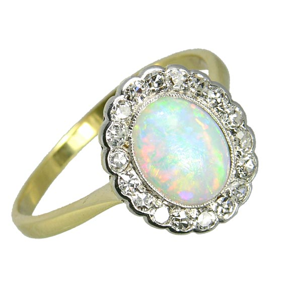 99332 £695 Second Hand Opal & Diamond Cluster Ring Stamp 18ct from Thorntons Jewellers Jewellery Collection in Kettering Northampton