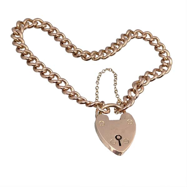 second hand 99580 £595 Pre loved 9ct rose gold bracelet with padlock clasp from Thorntons Jewellers Vintage collection in Kettering Northampton