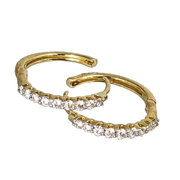 9ct yellow gold diamond set small hoop earrings £650 ref 97271 from thornton jeweller diamond jewellery collection in Kettering Northampton