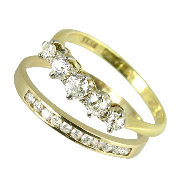 Pre loved 9ct diamond half eternity ring £325ref  98770 & 18ct 5 stone diamond ring £575  ref 96554 from thornton jeweller diamond jewellery collection in Kettering Northampton