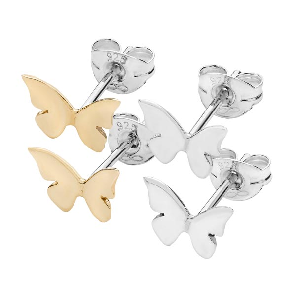 Butterfly & Moon collection stud earrings Silver & 9ct gold Sally Thorntons jewellery blog on Linda Macdonald from AA Thornton Kettering Northampton