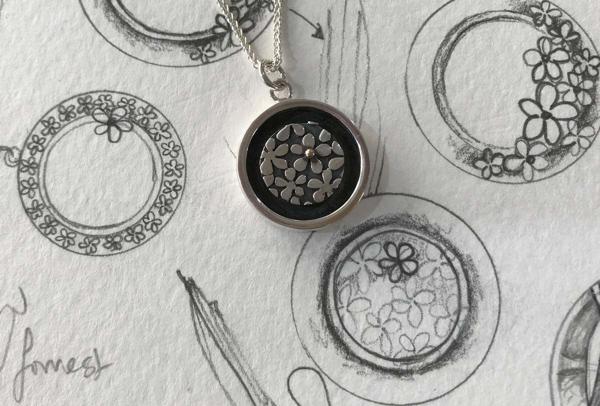 Sally Thorntons Jewellery Blog from Thorntons Jewellers Kettering on Linda's working drawing for the Cherish Collection pendant £148 1200 800