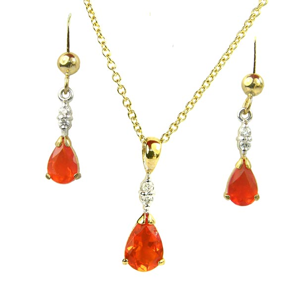 9ct fire opal & diamond earrings £320 & pendant on necklet £310 On Sally Thornton Jewellery Blog from Thorntons Jewellers Kettering Northampton