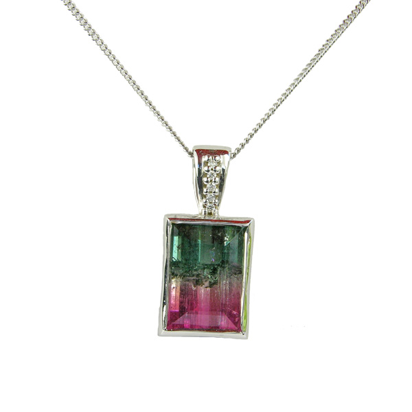 9ct white gold watermelon tourmaline and diamond pendant On Sally Thornton Jewellery Blog from Thorntons Jewellers Kettering Northampton £1,265