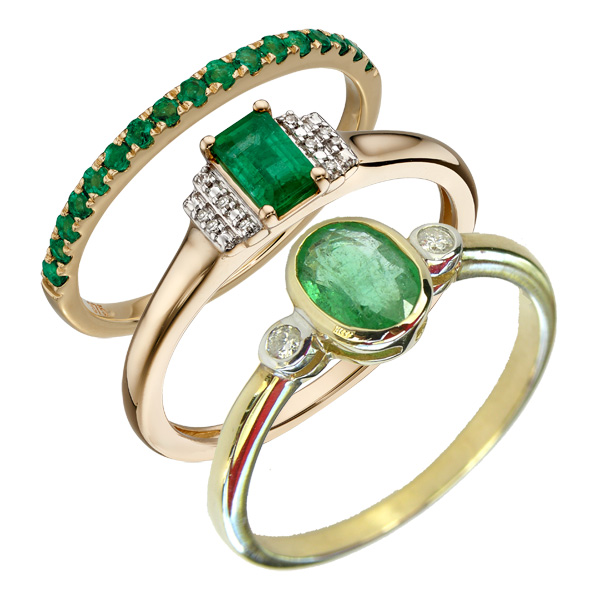 Emerald rings left to right £244 , £382 & £540 On Sally Thornton Jewellery Blog from Thorntons Jewellers Kettering Northampton