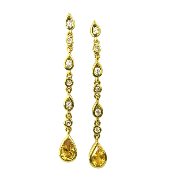 Pre loved 18ct citrine & diamond drop earrings £395 On Sally Thornton Jewellery Blog from Thorntons Jewellers Kettering Northampton