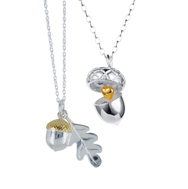 Silver & 18ct gold vermeil nutshell pendant £78 & oakleaf & acorn necklace £59 On Sally Thornton Jewellery Blog from Thorntons Jewellers Kettering Northampton