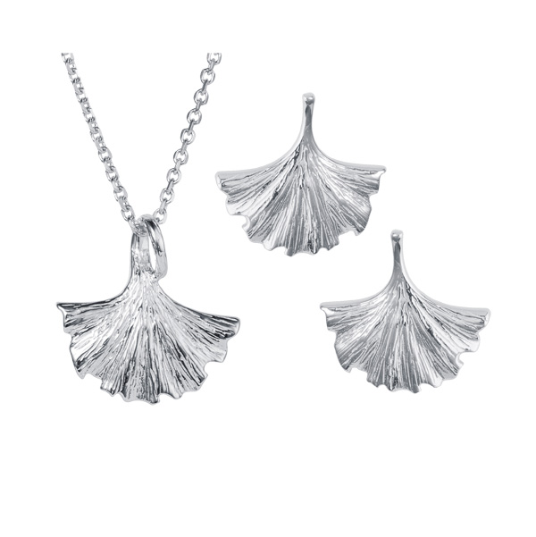 Silver ginkgo leaf drop pendant our ref 99356 £29 & earrings 99355 £28 On Sally Thornton Jewellery Blog from Thorntons Jewellers Kettering Northampton