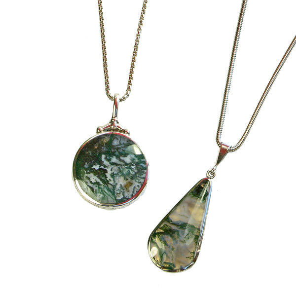Silver moss agate pendants left £129 and right £97 On Sally Thornton Jewellery Blog from Thorntons Jewellers Kettering Northampton