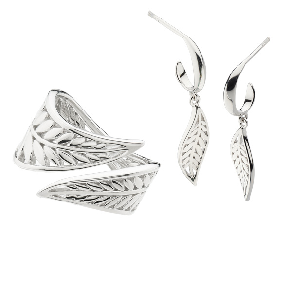 Silver wrapped leaf ring £55 & drop earrings £48 On Sally Thornton Jewellery Blog from Thorntons Jewellers Kettering Northampton