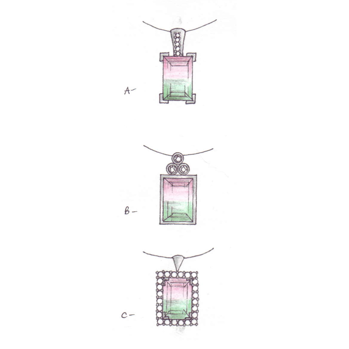 Watermelon tourmaline design sketches On Sally Thornton Jewellery Blog from Thorntons Jewellers Kettering Northampton