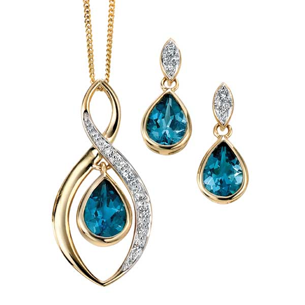 9ct gold pear shape London blue with diamond surround pendant & chain £330 and earrings £235 from Sally Thorntons jewellery Blog at AA Thornton Jeweller Kettering Northampton