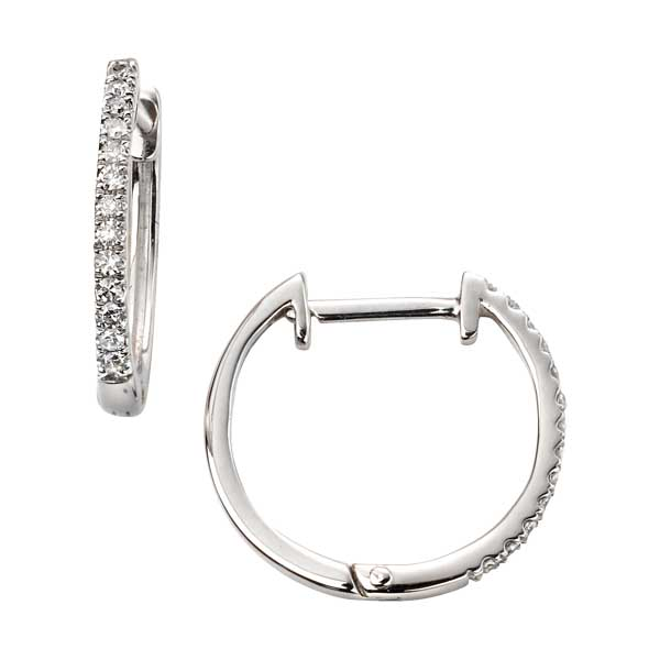 9ct white gold diamond set huggie earrings £299 from Sally Thorntons jewellery Blog at AA Thornton Jeweller Kettering Northampton
