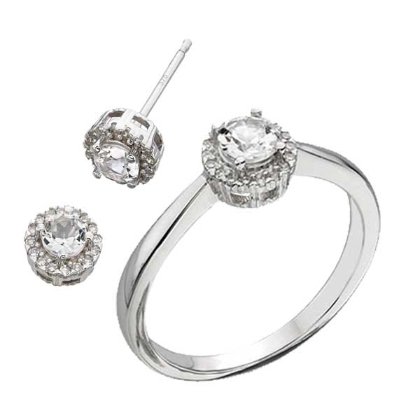 9ct white gold diamond & white topaz ring £305 & earrings £220 from Sally Thorntons jewellery Blog at AA Thornton Jeweller Kettering Northampton