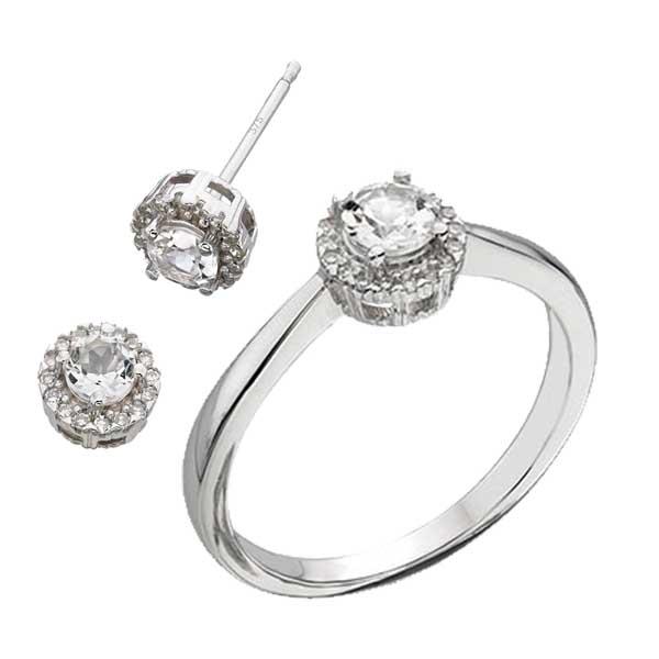 9ct white gold diamond & white topaz ring £305 & earrings £220 from Sally Thorntons jewellery Blog at AA Thornton Jeweller Kettering Northampton