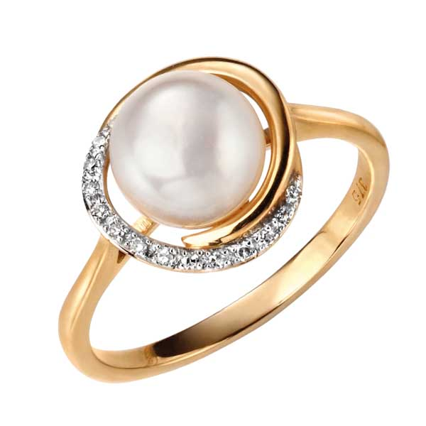 9ct yellow gold button pearl and diamond ring £375 from Sally Thorntons jewellery Blog at AA Thornton Jeweller Kettering Northampton