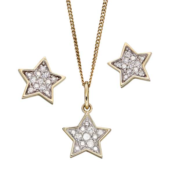 9ct yellow gold & diamond star pendant on chain £195 and earrings £125 from Sally Thorntons jewellery Blog at AA Thornton Jeweller Kettering Northampton