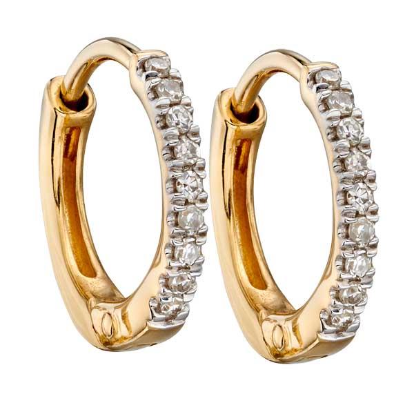 9ct yellow gold small diamond huggie earrings £230 from Sally Thorntons jewellery Blog at AA Thornton Jeweller Kettering Northampton