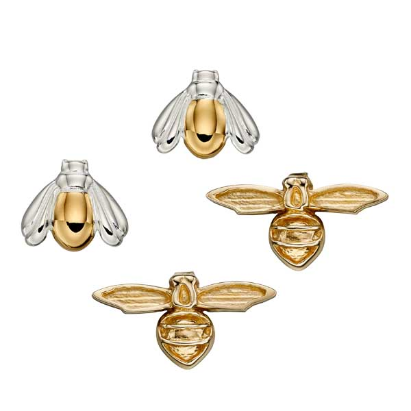 Bee stud earrings 9ct gold £145 & Gold plated silver £38 from Sally Thorntons jewellery Blog at AA Thornton Jeweller Kettering Northampton