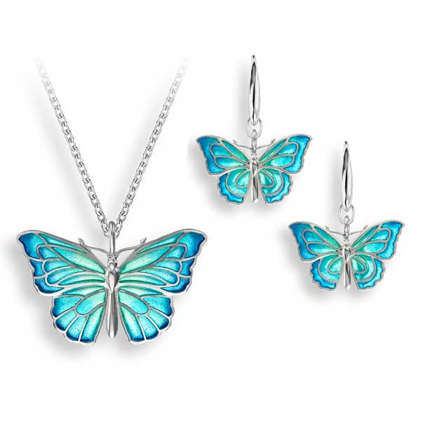Blue butterfly pendant £190 & earrings £162 from Sally Thorntons jewellery Blog at AA Thornton Jeweller Kettering Northampton