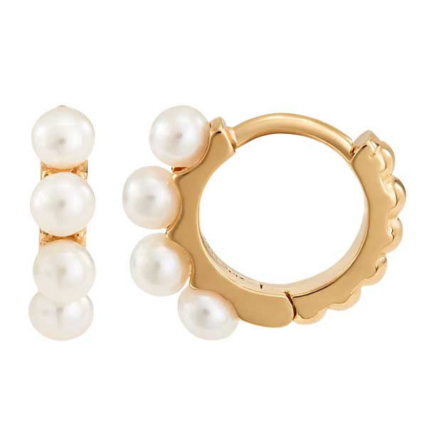 Gold plated pearl huggies £95 from Sally Thorntons jewellery Blog at AA Thornton Jeweller Kettering Northampton