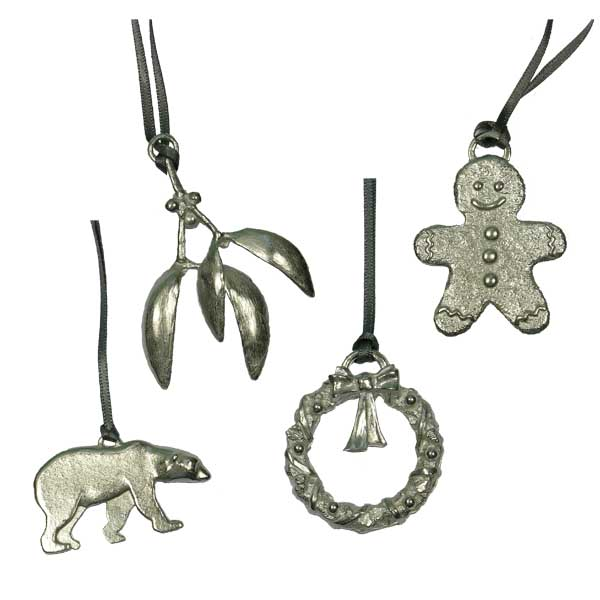 Pewter Christmas tree decorations £9 from Sally Thorntons jewellery Blog at AA Thornton Jeweller Kettering Northampton