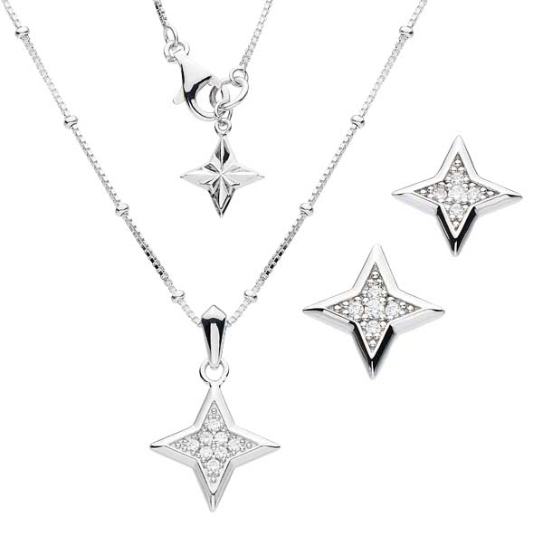 Silver stardust stud earrings £38 & necklace £65 from Sally Thorntons jewellery Blog at AA Thornton Jeweller Keering Northampton