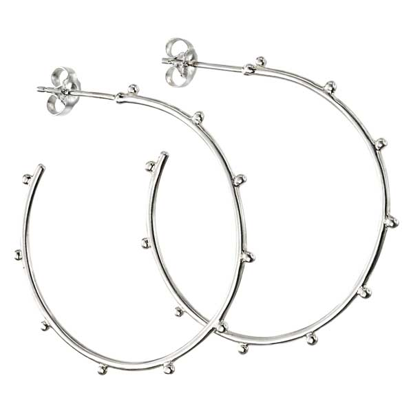 Sterling silver studded hoop earrings £25 from Sally Thorntons jewellery Blog at AA Thornton Jeweller Kettering Northampton