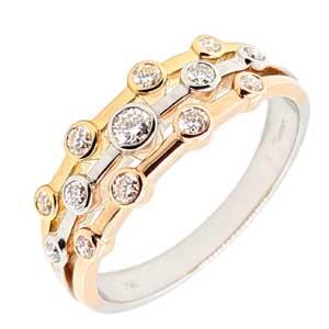18ct Three colour diamond set bubble ring £1,495 Sally Thorntons Jewellery blog on Christmas gift ideas from Thornton Jewellers Kettering Northampton