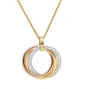 18ct diamond set interlocking ring pendant on chain £2,045 Sally Thorntons Jewellery blog on Christmas gift ideas from Thornton Jewellers Kettering Northampton