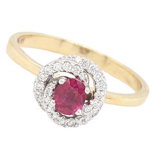 18ct gold ruby & diamond swirl cluster ring £1,125 Sally Thorntons Jewellery blog on Christmas gift ideas from Thornton Jewellers Kettering Northampton