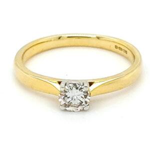 Pre Loved 18ct Gold 0.25ct Diamond Single Stone Ring