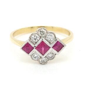 Preloved 18ct Ruby & Diamond Panel Ring