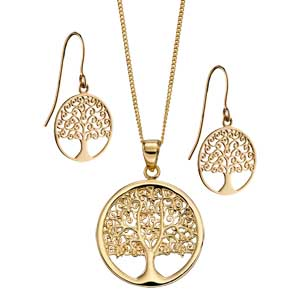 9ct gold tree of life pendant on chain £290 & matching earrings £115 Sally Thorntons Jewellery blog on Christmas gift ideas from Thornton Jewellers Kettering Northampton