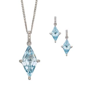 9ct white gold blue topaz and diamond pendant on chain £420 and matching earrings £470 Sally Thorntons Jewellery blog on Christmas gift ideas from Thornton Jewellers Kettering Northampton