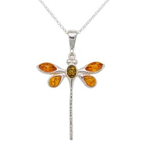 Silver amber dragonfly pendant on a chain £52 Sally Thorntons Jewellery blog on Christmas gift ideas from Thornton Jewellers Kettering Northampton