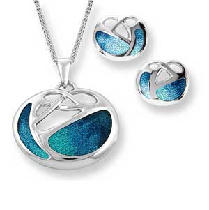 Silver & enamel art nouveau inspired pendant on chain £105 & matching stud earrings £55 Sally Thorntons Jewellery blog on Christmas gift ideas from Thornton Jewellers Kettering Northampton