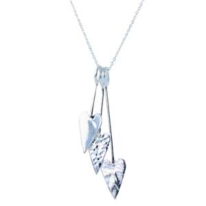 Silver hammered triple heart pendant on a chain £49 Sally Thorntons Jewellery blog on Christmas gift ideas from Thornton Jewellers Kettering Northampton