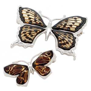 Silver lazered amber butterflies brooches from £55 Sally Thorntons Jewellery blog on Christmas gift ideas from Thornton Jewellers Kettering Northampton