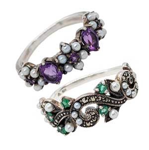 Silver pearl & marcasite rings with amethyst £95 or emerald £135 Sally Thorntons Jewellery blog on Christmas gift ideas from Thornton Jewellers Kettering Northampton