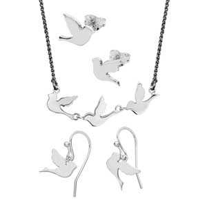 Three little bird collection stud earrings £32,necklace £86 & drop earrings £49 from Sally Thorntons Jewellery blog on Christmas gift ideas from Thornton Jewellers Kettering Northampton
