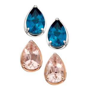 White gold London blue topaz stud earrings £145 & rose gold morganite stud earrings £165 Sally Thorntons Jewellery blog on Christmas gift ideas from Thornton Jewellers Kettering Northampton